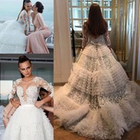 Wholesale fall wedding cakes for sale - Group buy 2019 Luxury Lace Tulle Church Long Sleeve Wedding Dresses Arabic Dubai Tiered Cake Cathedral Train Zuhair Murad Bridal Gowns