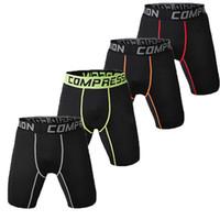 shorts de ginástica apertados para homens venda por atacado-Mens Compression Shorts da aptidão que funciona Roupa interior Gym Training Spandex Tight fit