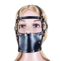 головной убор для рта оптовых-Взрослые игры секс-игрушки повязки искусственная кожа головы жгут открытие рот полый мяч рот жевательная резинка череп устная фиксация