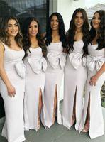 Wholesale chocolate brown belt for sale - Group buy Elegant White Bridesmaid Dresses New Designer Bow Belt Split Long Maid of Honor Gowns For Summer Boho Weddings BM0919