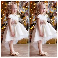 kızlar el bantları toptan satış-Yüksek Düşük 2020 Tül Çiçek Kız Elbise El Çiçek Bel Bandı Çocuk Parti Abiye Dantel Çocuk Parti Gowns Dantel