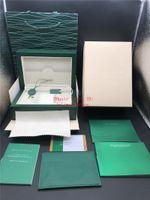 ingrosso fornitori di cuoio-Fornitore di fabbrica Scatola verde di alta qualità Carte da regalo Scatole Orologi Borsa in pelle Carta per 116610 116660 116710 116613 Borse Scatole per orologi