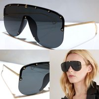 Wholesale half rimless sunglasses resale online - New fashion S designer sunglasses connected lens big size half frame with small Rivets mask sunglasses popular goggle top quality