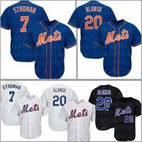 morangos de jersey venda por atacado-7 Marcus Stroman Nova Iorque # 20 Pete Alonso Mets Jersey 48 Jacob deGrom 31 Mike Piazza 30 Michael Conforto Cespedes morango