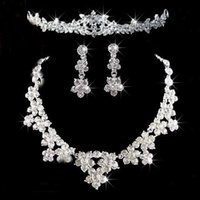 Wholesale pageant earrings necklace for sale - Group buy Wedding Jewelry Sets Shining Sets Rhinestone Bridal Jewelery Accessories Crystals Necklace and Earrings for Prom Pageant Party