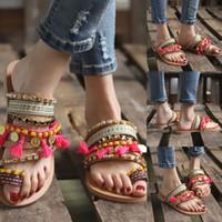 flachen böhmischen stil großhandel-Frauen Sandalen Sommer Damen Böhmischen Ethnischen Stil Flache Schuhe Weibliche Sandalen Strass Strand Komfortable Slipper T9 #