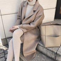 ingrosso high collar wool belt-2018 Autunno Inverno elegante donna cappotto misto lana Turn Down Collar Slim Belt Cappotti Donna lungo soprabito Plus Size di alta qualità