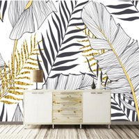 Wholesale large black white paintings resale online - Custom size Wallpaper papel de parede Nordic simple banana leaf black and white palm wall decoration painting custom large mural wallpaper