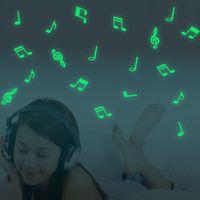 musik noten vinyl kunst großhandel-Music Note Luminous Aufkleber Home Room Decor Art Vinyl Wandaufkleber DIY Entfernbare wandaufkleber für kinderzimmer gemälde an der wand