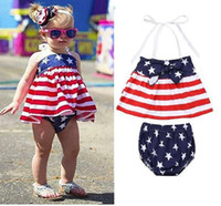 Wholesale baby wear star for sale - INS Designer Baby Girls Star Stripe Suits for USA The Fourth of July Kids National Day Wear Kids Special Occasion Clothes