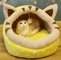 Wholesale cat dog kennel resale online - Pet Cat Litter Kennel Round Plus Velvet Winter Warm Mattress Soft Plush Cat Supplies Small And Medium Dogs Can Demolition Wash Teddy Wo