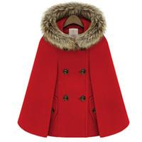 Herbst Winter Zweireiher Mantel Cape Wollmantel Frauen Rotes Fell Mit Kapuze Tweed Poncho Dicke Warme Fledermausärmel Lose Outwear
