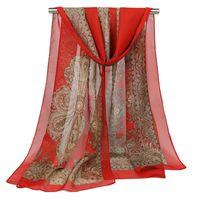 ingrosso sciarpa femminile indiana-Sciarpa lunga delle donne di stile etnico Sciarpe lunghe in chiffon Sciarpa di seta della stampa della donna Scialle femminile Regalo indiano di inverno