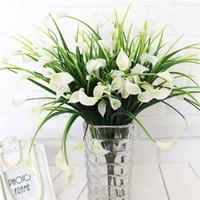 Wholesale aquatic plants resale online - Bouquet Mini Artificial Calla with Leaf Silk Fake Lily Aquatic Plants Home Room Decoration Flower Fake Flowers