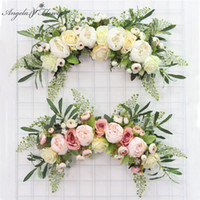 Wholesale black white living room decor for sale - Group buy Artificial wreath door threshold flower DIY wedding home living room party pendant wall decor Christmas garland gift rose peony