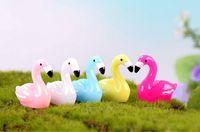ingrosso miniature per giardini fiabeschi-New Flamingo Pendant Figurine Ornament Miniatures for Terrariums Fairy Garden Decoration Giorno del ringraziamento Regalo Accessorio fai da te