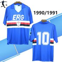camisa do rugby do vintage venda por atacado-1990 1991 Sampdoria Mancini retro rugby Jersey manga curta Vintage 90 91 râguebi Villi camisas camisas de futebol Italia Calcio MAGLIA Camiseta