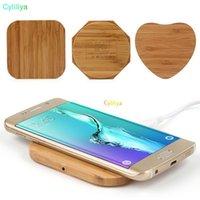 bambus-ladegerät großhandel-Bambus Holz Holz Qi Wireless Charger Pad Schnellladestation mit USB-Kabel Telefon Ladetablett Aufladen für iPhone XS MAX XR 8