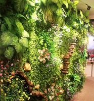 yapay bahçe bitkileri toptan satış-düğün bahçe süslemeleri için Çevre dostu yapay bitki duvarı suni çim duvar ortamı bitki duvar çim plastik geçirmez