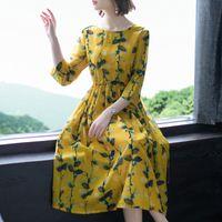 ingrosso vestiti casuali gialli più il formato-Nuovo abito elegante stampato girocollo ampio abito di lino giallo di seta per le donne Abiti stampati etnici floreali Plus Size 4XL