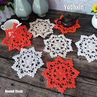 Wholesale crochet cup placemat for sale - Group buy Modern cotton round placemat cup coaster mug kitchen drink table place mat cloth lace Crochet dish doily Handmade dining pad