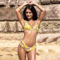 ingrosso giallo bikini brasiliani-MisShow Plus Size Giallo Bikini stampati floreali Set 2019 Costume da bagno donna Backless Push Up Costumi da bagno brasiliano maillot de bain SO0635