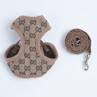 Wholesale pets dog collars for sale - Group buy Outdoor Pet Dog Harnesses Classic Pattern Fashion Adjustable Pet Harnesses Leashes Cute Teddy Leash Collar Suit Small Dog Collar Accessories