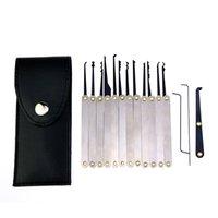 conjunto de ferramentas de couro venda por atacado-12pcs / set Gazuas Ferramentas serralheiro Remover Key Set Lockpick Bloqueio Opener com saco de couro