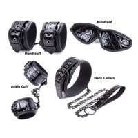 Wholesale black slave dog collar resale online - Adult Toys Black Slave Harness Handcuff Neck Collars Ankle Cuff Restraint Costume Cosplay Neck Connected Dog Chain