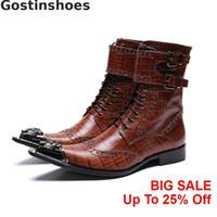 braune schnürstiefel großhandel-Luxusmode-Mann-Winter-Boots Brown echtes Leder-Krokodil-Muster gedruckt Metall Cap Toe Herren Boots Lace-up Buckle Straps