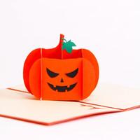 ingrosso carte di halloween fatte a mano-3D Halloween Pumpkin Skull Card Handmade Greeting Card Saluto creativo fai da te per i bambini