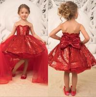 kırmızı payet kılık elbisesi toptan satış-2019 Sparkle Sequins Kırmızı Prenses Kızlar Pageant elbise Tül Aplike Yay Çiçek Kız Parti Doğum Günü Törenlerinde Ile Ayrılabilir Etek BC2163