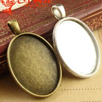 Wholesale pendant tray setting antique silver for sale - Group buy A1433 MM Fit MM Antique Bronze oval cameo setting tibetan silver metal stamping blank base jewelry making tray pendant bezel