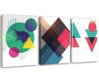 kreis wohnkultur großhandel-Geometrie Wand Bild Kunstdrucke Rotes Dreieck Kreis abstrakte Wandkunst für moderne Wohnkultur 3 Panels