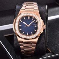 роскошные часы бриллианты оптовых-Розовое золото LUXURY WATCHES diamond высокое качество автоматические механические часы ремешок из нержавеющей стали синий циферблат nautilus мужские мужские часы