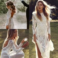 Wholesale beach wedding dresses back ruffle for sale - Group buy Sexy Backless Bohemian Country Wedding Dresses A Line New Full Lace Sheer Long Sleeves Hippie Beach Boho Bridal Gowns Cheap Custom Made