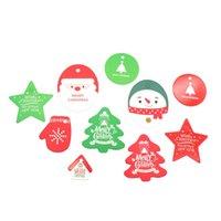 etiquetas do presente do kraft do natal venda por atacado-50 pcs Tag Estrela de Natal Papai Noel Tags Cartão de Papel Kraft Tag Saco de Doces Decoração Pacote de Presente de Natal Tags Decoração Suprimentos