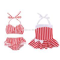 ingrosso swimwear rosso della neonata-Costume da bagno per bambini Bikini con stampa a righe bianco rosso 2019 di estate delle neonate C6038
