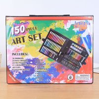 materiais de arte para crianças venda por atacado-Crianças Art Set Crianças Desenho Conjunto de Cor de Água Caneta Crayon Pintura Pastel Ferramenta de Desenho de Arte material de arte papelaria set 150 Pcs