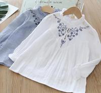 ingrosso camicie collari alti per i bambini-Camicia abbigliamento bambina per bimbi Colletto tondo Manica lunga con spacco a fiori Design Camicia per bambini in cotone 100% di alta qualità