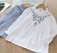bandes enfants achat en gros de-Fille enfants vêtements chemise col rond manches longues Stripped Flower Design haute qualité 100% coton enfants chemise vêtements