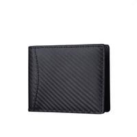 carteira de dinheiro bifold clip homens venda por atacado-RFID Blocking Wallet for Men Carteira de Fibra De Carbono com Janela de ID Slim Bifold Bolso Frontal com Clipe de Dinheiro