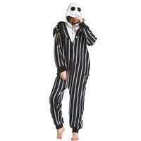 halloween kostümleri jack toptan satış-Jack İskelet Karikatür Polar Polar Kafatası Kigurumi Onesie Kadın Pijama Erkekler Yetişkin Bodysuit Pijama Kış Için Cadılar Bayramı Kostüm
