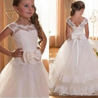 Wholesale pretty puffy dresses for kids resale online - Pretty Princess Lace Flower Girls Dresses Ruffles Puffy Tulle Lace Capped Sleeves First Communion Pageant Gowns for Kids Custom Made