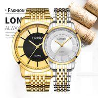 reloj longbo al por mayor-Longbo Relogio Pareja de Lujo Relojes Hombres Mujeres Reloj de pulsera de Cuarzo Banda de Acero Inoxidable Reloj Resistente Al Agua Amantes 80281