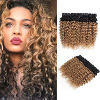 Wholesale blonde curly remy hair weave for sale - Group buy Ombre Blonde Water Wave Hair Bundles Peruvian Curly Hair B Honey Blonde inch Pieces Remy Human Hair Extensions