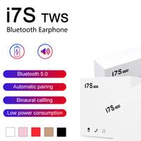 ingrosso bluetooth mini universale-I7 I7S TWS Cuffie Bluetooth Twins auricolari mini auricolari Wireless Headset con microfono V5.0 stereo per il telefono Android con l'imballaggio al dettaglio