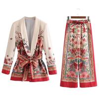 ingrosso giacca di vestito di kimono-2018 Blazer e pantaloni per il tempo libero da donna Plus Size Kimono Jacket Lace Up Blet Pantaloni a vita alta con coulisse 2 pezzi Set completo