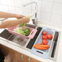 fruchtkörbe geben verschiffen frei großhandel-Versenkbare verstellbare Kunststoff Ablaufkorb Waschbecken Regal 4 Farben Obst Gemüse Küche Sieb Versenkbare Siebe Kostenloser Versand