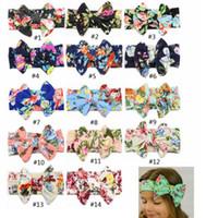 accesorios para la banda de algodón al por mayor-Niñas Bowknot hairbands Bebé Floral Impreso diademas Algodón Elástico Bohemia Headwear Head Wrap Accesorios de la venda del pelo GGA2011